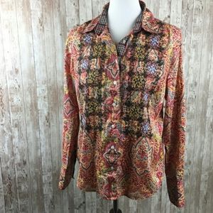 Robert Graham Womens Embroidered Beaded Shirt L